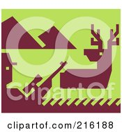 Royalty Free RF Clipart Illustration Of A Hunter And Deer