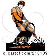 Royalty Free RF Clipart Illustration Of A Retro Construction Worker Operating A Jackhammer by patrimonio