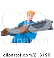 Construction Worker Carrying A Metal Beam