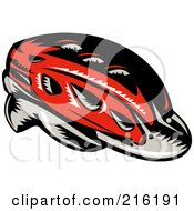 Royalty Free RF Clipart Illustration Of A Retro Red Cycling Helmet