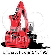 Royalty Free RF Clipart Illustration Of A Person Operating A Red Excavator