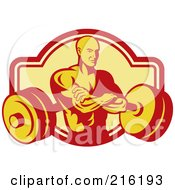 Royalty Free RF Clipart Illustration Of A Retro Bodybuilder With His Arms Crossed Overa Barbell Logo