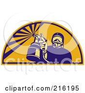 Royalty Free RF Clipart Illustration Of A Retro Spray Painter Logo 1
