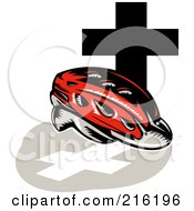 Royalty Free RF Clipart Illustration Of A Retro Red Cycling Helmet With A Cross