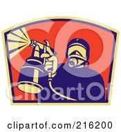 Royalty Free RF Clipart Illustration Of A Retro Spray Painter Logo 2