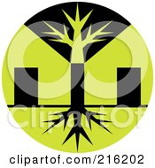 Royalty Free RF Clipart Illustration Of A Round Green And Black Tree Logo by patrimonio
