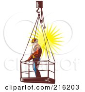 Royalty Free RF Clipart Illustration Of A Construction Worker On A Platform