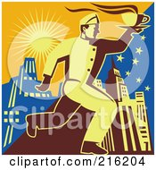 Royalty Free RF Clipart Illustration Of A Retro Waitor Running To Deliver Coffee 2 by patrimonio