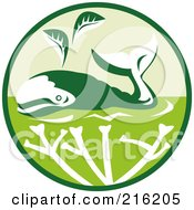 Royalty Free RF Clipart Illustration Of A Green Whale Circle Logo