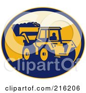 Royalty Free RF Clipart Illustration Of A Retro Mechanical Digger Logo by patrimonio