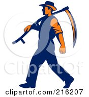 Royalty Free RF Clipart Illustration Of A Retro Farmer Walking With A Scythe Over His Shoulder by patrimonio