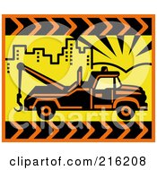 Royalty Free RF Clipart Illustration Of A Retro Tow Truck In A Yellow City by patrimonio