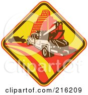 Royalty Free RF Clipart Illustration Of A Retro Tow Truck Sign Logo by patrimonio