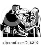 Royalty Free RF Clipart Illustration Of Retro Men Playing A Game Of Chess