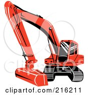 Royalty Free RF Clipart Illustration Of A Reddish Orange Excavator Machine by patrimonio