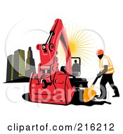 Royalty Free RF Clipart Illustration Of A Construction Worker Digging By An Excavator by patrimonio
