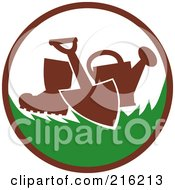 Royalty Free RF Clipart Illustration Of A Retro Gardening Logo With A Spade Shovel Boot And Watering Can by patrimonio #COLLC216213-0113