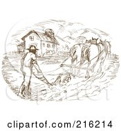 Royalty Free RF Clipart Illustration Of A Sketch Of A Farmer And Horse Plowing A Field by patrimonio