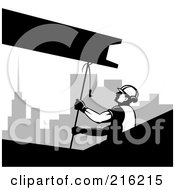 Royalty Free RF Clipart Illustration Of A Grayscale Construction Worker Hoisting A Beam by patrimonio