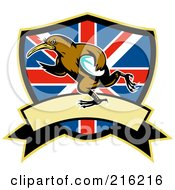 Royalty Free RF Clipart Illustration Of A Rugby Kiwi Bird Over A British Shield by patrimonio