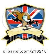 Rugby Kiwi Bird Over A British Shield