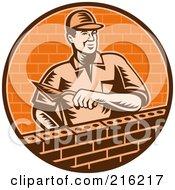 Royalty Free RF Clipart Illustration Of A Retro Mason Laying A Brick Wall by patrimonio #COLLC216217-0113