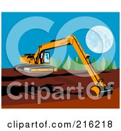 Yellow Excavator Reaching