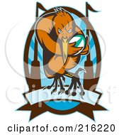 Royalty Free RF Clipart Illustration Of A Rugby Kiwi Bird Over A Blue Oval And Banner by patrimonio