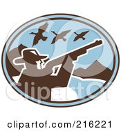 Royalty Free RF Clipart Illustration Of A Blue Retro Duck Hunter Logo by patrimonio