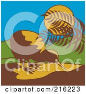 Royalty Free RF Clipart Illustration Of A Wild Kiwi Bird By Plants In The Moonlight by patrimonio