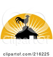 Royalty Free RF Clipart Illustration Of A Retro Rooster Atop A Barn by patrimonio