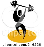 Royalty Free RF Clipart Illustration Of A Retro Weight Lifter With A Barbell