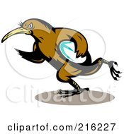 Kiwi Bird Rugby Football Player