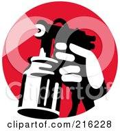 Royalty Free RF Clipart Illustration Of A Retro Hand Using A Spray Container On A Red Circle by patrimonio #COLLC216228-0113