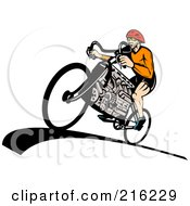 Royalty Free RF Clipart Illustration Of A Man Riding A V8 Engine Bicycle