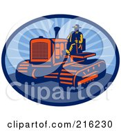Royalty Free RF Clipart Illustration Of A Retro Farmer Driving A Tractor by patrimonio