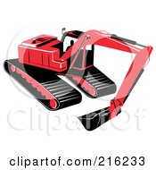Royalty Free RF Clipart Illustration Of A Red Excavator Machine by patrimonio