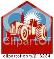 Royalty Free RF Clipart Illustration Of A Retro Tractor Logo by patrimonio #COLLC216234-0113