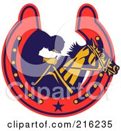 Royalty Free RF Clipart Illustration Of A Retro Styled Jockey And Horse In A Horse Shoe