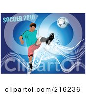 Royalty Free RF Clipart Illustration Of A Kicking Soccer Player On A Blue Background With Waves And Grungy Text