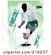 Royalty Free RF Clipart Illustration Of A Soccer Player On A Grungy Green Background With Football Soccer Text 1