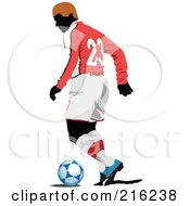 Royalty Free RF Clipart Illustration Of A Faceless Soccer Football Player 8