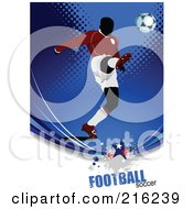 Royalty Free RF Clipart Illustration Of A Soccer Player On A Grungy Blue Halftone Background With Football Soccer Text 5
