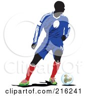 Royalty Free RF Clipart Illustration Of A Faceless Soccer Football Player 9