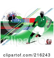 Royalty Free RF Clipart Illustration Of A Soccer Player On A Grungy Green Halftone Background With Football Soccer Text 2