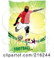 Royalty Free RF Clipart Illustration Of A Soccer Player On A Grungy Shining Background With Football Soccer Text