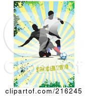 Royalty Free RF Clipart Illustration Of A Soccer Player On A Grungy Shining Blue And Yellow Background With Football Soccer Text