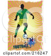 Royalty Free RF Clipart Illustration Of A Soccer Player On A Grungy Orange And Green Ray Background With Football Soccer Text