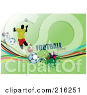 Royalty Free RF Clipart Illustration Of A Soccer Player On A Green Background With Football Soccer Text