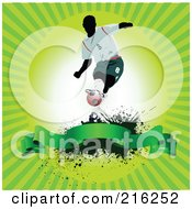 Royalty Free RF Clipart Illustration Of A Soccer Player Above A Blank Banner On A Grungy Green Ray Background